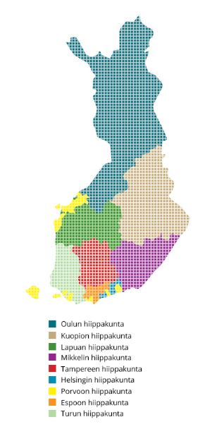 Hiippakunnat Suomen kartalla