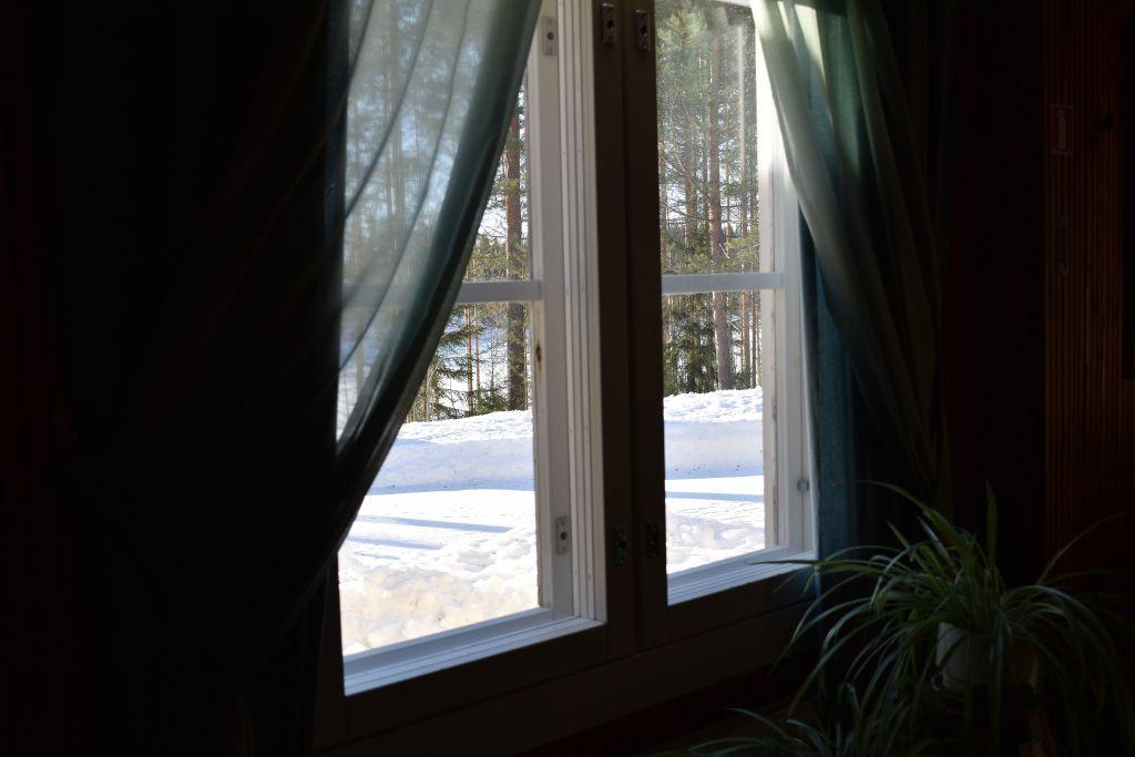 Talvinen maisema Enonkosken luostarin ikkunasta