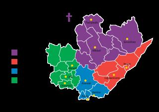 Hiippakunnan alueen kartta